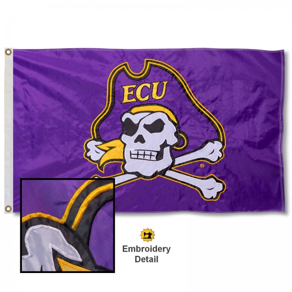 East Carolina University Nylon Embroidered Flag measures 3'x5', is made of 100% nylon, has quadruple flyends, two metal grommets, and has double sided appliqued and embroidered University logos. These East Carolina University 3x5 Flags are officially licensed by the selected university and the NCAA.
