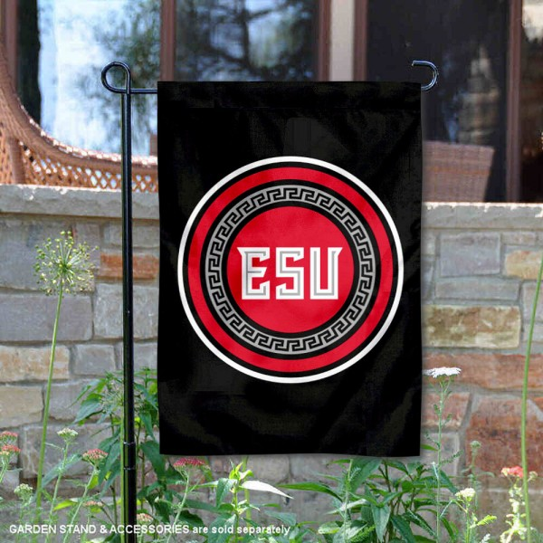 East Stroudsburg Warriors Wordmark Logo Garden Flag is 13x18 inches in size, is made of 2-layer polyester, screen printed university athletic logos and lettering, and is readable and viewable correctly on both sides. Available same day shipping, our East Stroudsburg Warriors Wordmark Logo Garden Flag is officially licensed and approved by the university and the NCAA.