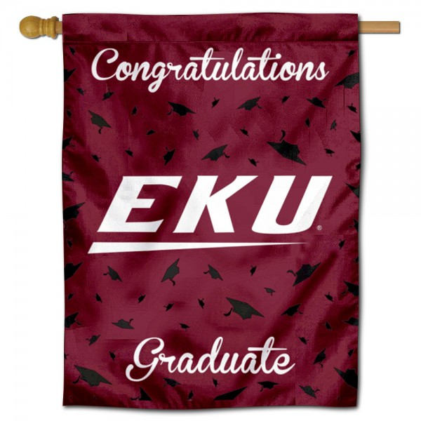 Eastern Kentucky Colonels Congratulations Graduate Flag measures 30x40 inches, is made of poly, has a top hanging sleeve, and offers dye sublimated Eastern Kentucky Colonels logos. This Decorative Eastern Kentucky Colonels Congratulations Graduate House Flag is officially licensed by the NCAA.