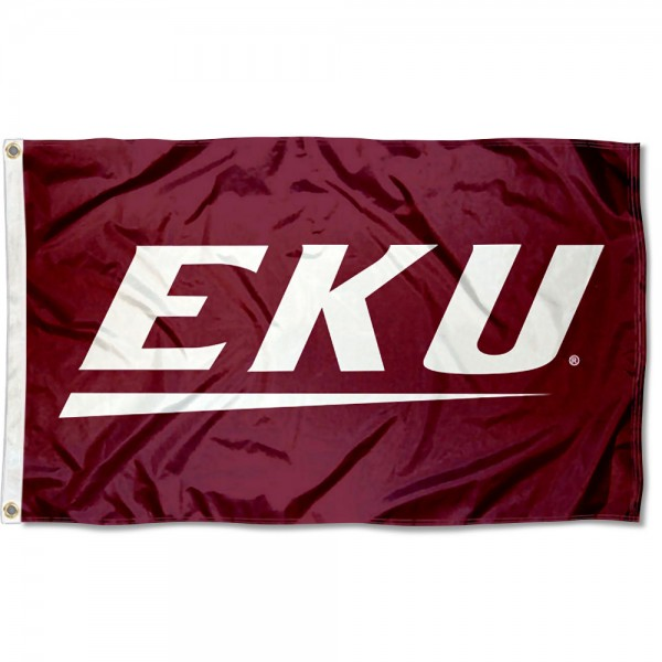 Eastern Kentucky Colonels New Logo Flag measures 3x5 feet, is made of 100% polyester, offers quadruple stitched flyends, has two metal grommets, and offers screen printed NCAA team logos and insignias. Our Eastern Kentucky Colonels New Logo Flag is officially licensed by the selected university and NCAA.