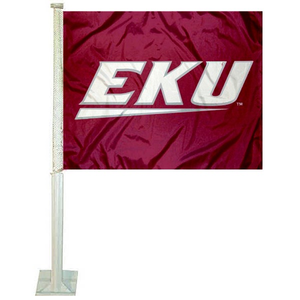 Eastern Kentucky University Car Window Flag measures 12x15 inches, is constructed of sturdy 2 ply polyester, and has dye sublimated school logos which are readable and viewable correctly on both sides. Eastern Kentucky University Car Window Flag is officially licensed by the NCAA and selected university.