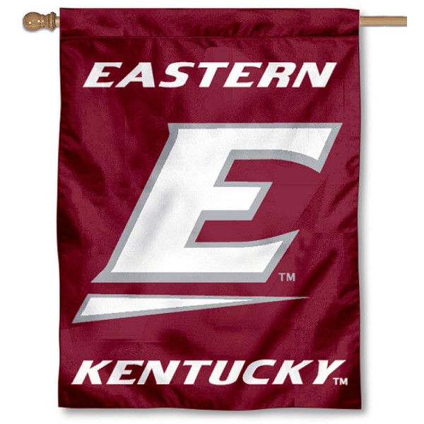 Eastern Kentucky University House Flag is a vertical house flag which measures 30x40 inches, is made of 2 ply 100% polyester, offers dye sublimated NCAA team insignias, and has a top pole sleeve to hang vertically. Our Eastern Kentucky University House Flag is officially licensed by the selected university and the NCAA