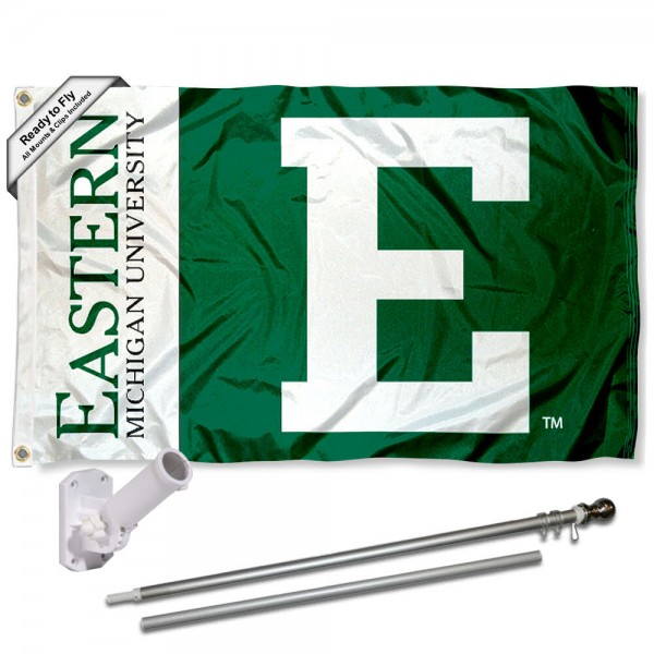 Our Eastern Michigan Eagles Flag Pole and Bracket Kit includes the flag as shown and the recommended flagpole and flag bracket. The flag is made of polyester, has quad-stitched flyends, and the NCAA Licensed team logos are double sided screen printed. The flagpole and bracket are made of rust proof aluminum and includes all hardware so this kit is ready to install and fly.