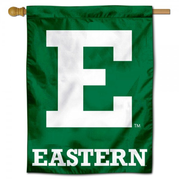 "Eastern Michigan Eagles Logo Banner Flag is constructed of polyester material, is a vertical house flag, measures 30""x40"", offers screen printed athletic insignias, and has a top pole sleeve to hang vertically. Our Eastern Michigan Eagles Logo Banner Flag is Officially Licensed by Eastern Michigan Eagles and NCAA."