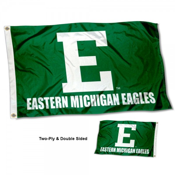 Eastern Michigan Eagles Wordmark Flag measures 3x5 feet, is made of 2-ply 100% polyester, offers quadruple stitched flyends, has two metal grommets, and offers screen printed NCAA team logos and insignias. Our Eastern Michigan Eagles Wordmark Flag is officially licensed by the selected university and NCAA.