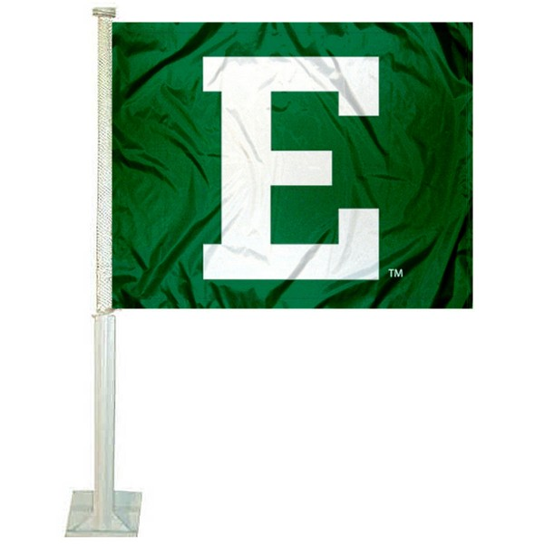 Eastern Michigan EMU Car Window Flag measures 12x15 inches, is constructed of sturdy 2 ply polyester, and has dye sublimated school logos which are readable and viewable correctly on both sides. Eastern Michigan EMU Car Window Flag is officially licensed by the NCAA and selected university.