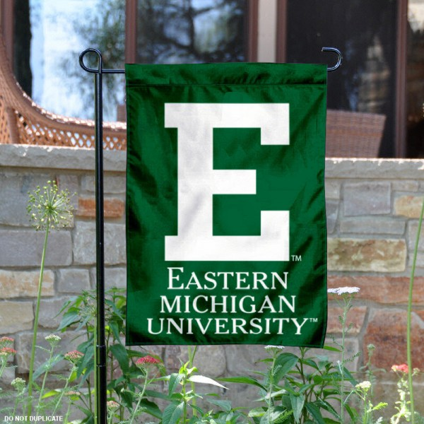 Eastern Michigan University Garden Flag is 13x18 inches in size, is made of 2-layer polyester, screen printed Eastern Michigan University athletic logos and lettering. Available with Same Day Express Shipping, Our Eastern Michigan University Garden Flag is officially licensed and approved by Eastern Michigan University and the NCAA.