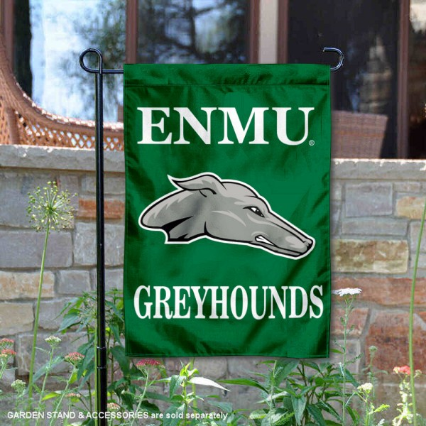 Eastern New Mexico Greyhounds Mascot Garden Flag is 13x18 inches in size, is made of 2-layer polyester, screen printed university athletic logos and lettering. Available with Same Day Express Shipping, our Eastern New Mexico Greyhounds Mascot Garden Flag is officially licensed and approved by the university and the NCAA.