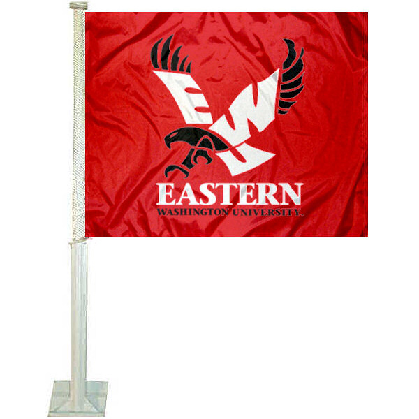 Eastern Washington Eagles Car Flag measures 12x15 inches, is constructed of sturdy 2 ply polyester, and has dye sublimated school logos which are readable and viewable correctly on both sides. Eastern Washington Eagles Car Flag is officially licensed by the NCAA and selected university.