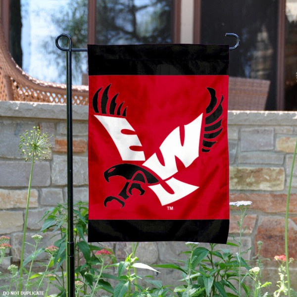 Eastern Washington Eagles Garden Flag is 13x18 inches in size, is made of 2-layer polyester, screen printed Eastern Washington Eagles athletic logos and lettering. Available with Same Day Express Shipping, Our Eastern Washington Eagles Garden Flag is officially licensed and approved by Eastern Washington Eagles and the NCAA.