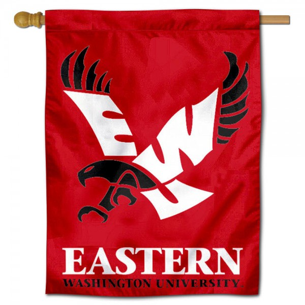 "Eastern Washington Eagles House Flag is constructed of polyester material, is a vertical house flag, measures 30""x40"", offers screen printed athletic insignias, and has a top pole sleeve to hang vertically. Our Eastern Washington Eagles House Flag is Officially Licensed by Eastern Washington Eagles and NCAA."