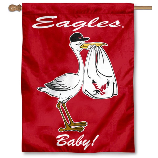 Eastern Washington Eagles New Baby Flag measures 30x40 inches, is made of poly, has a top hanging sleeve, and offers dye sublimated Eastern Washington Eagles logos. This Decorative Eastern Washington Eagles New Baby House Flag is officially licensed by the NCAA.