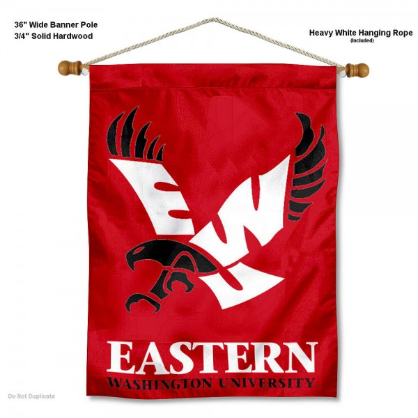 "Eastern Washington Eagles Wall Banner is constructed of polyester material, measures a large 30""x40"", offers screen printed athletic logos, and includes a sturdy 3/4"" diameter and 36"" wide banner pole and hanging cord. Our Eastern Washington Eagles Wall Banner is Officially Licensed by the selected college and NCAA."