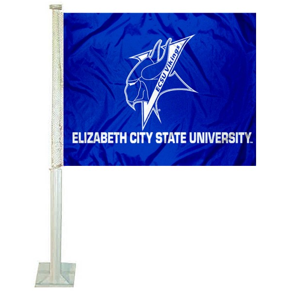 ECSU Vikings Logo Car Flag measures 12x15 inches, is constructed of sturdy 2 ply polyester, and has screen printed school logos which are readable and viewable correctly on both sides. ECSU Vikings Logo Car Flag is officially licensed by the NCAA and selected university.