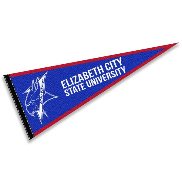 ECSU Vikings Pennant consists of our full size sports pennant which measures 12x30 inches, is constructed of felt, is single sided imprinted, and offers a pennant sleeve for insertion of a pennant stick, if desired. This ECSU Vikings Pennant Decorations is Officially Licensed by the selected university and the NCAA.