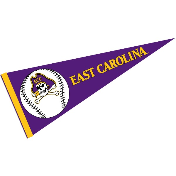 ECU Pirates Baseball Pennant consists of our full size sports pennant which measures 12x30 inches, is constructed of felt, is single sided imprinted, and offers a pennant sleeve for insertion of a pennant stick, if desired. This ECU Pirates Pennant Decorations is Officially Licensed by the selected university and the NCAA.