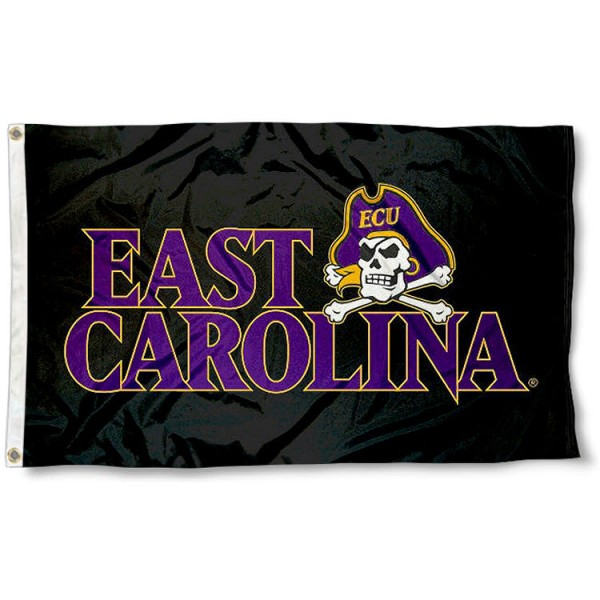 ECU Pirates Black Flag measures 3x5 feet, is made of 100% polyester, offers quadruple stitched flyends, has two metal grommets, and offers screen printed NCAA team logos and insignias. Our ECU Pirates Black Flag is officially licensed by the selected university and NCAA.