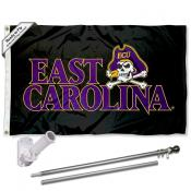 ECU Pirates Black Flag Pole and Bracket Kit