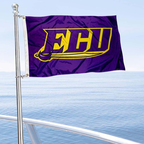 ECU Pirates Boat and Mini Flag is 12x18 inches, polyester, offers quadruple stitched flyends for durability, has two metal grommets, and is double sided. Our mini flags for East Carolina University are licensed by the university and NCAA and can be used as a boat flag, motorcycle flag, golf cart flag, or ATV flag.