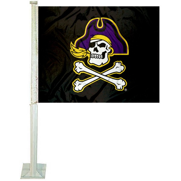 ECU Pirates Car Window Flag measures 12x15 inches, is constructed of sturdy 2 ply polyester, and has screen printed school logos which are readable and viewable correctly on both sides. ECU Pirates Car Window Flag is officially licensed by the NCAA and selected university.