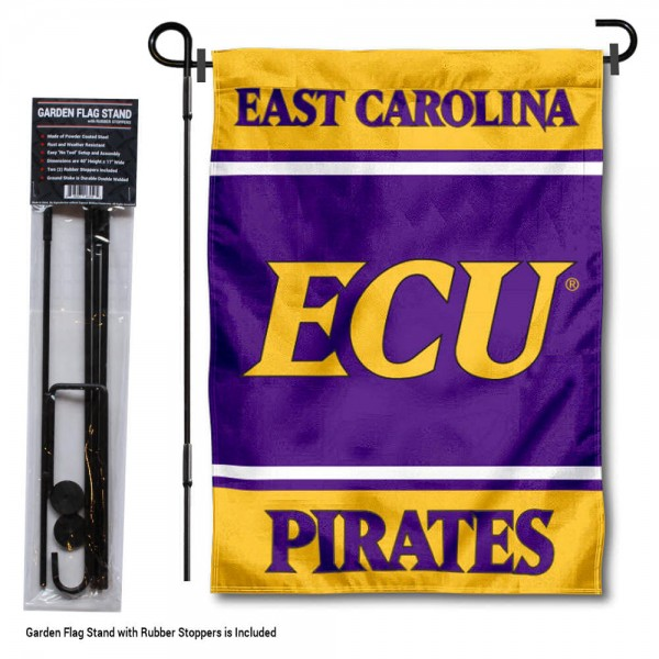 """ECU Pirates Garden Flag and Pole Stand Holder kit includes our 13""""x18"""" garden banner which is made of 2 ply poly with liner and has screen printed licensed logos. Also, a 40""""x17"""" inch garden flag stand is included so your ECU Pirates Garden Flag and Pole Stand Holder is ready to be displayed with no tools needed for setup. Fast Overnight Shipping is offered and the flag is Officially Licensed and Approved by the selected team."""