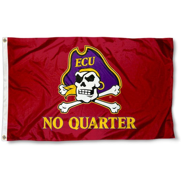 ECU Pirates No Quarter Flag measures 3x5 feet, is made of 100% polyester, offers quadruple stitched flyends, has two metal grommets, and offers screen printed NCAA team logos and insignias. Our ECU Pirates No Quarter Flag is officially licensed by the selected university and NCAA.