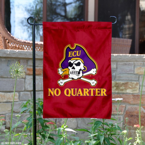 ECU Pirates No Quarter Garden Flag is 13x18 inches in size, is made of 2-layer polyester, screen printed university athletic logos and lettering. Available with Same Day Express Shipping, our ECU Pirates No Quarter Garden Flag is officially licensed and approved by the university and the NCAA.