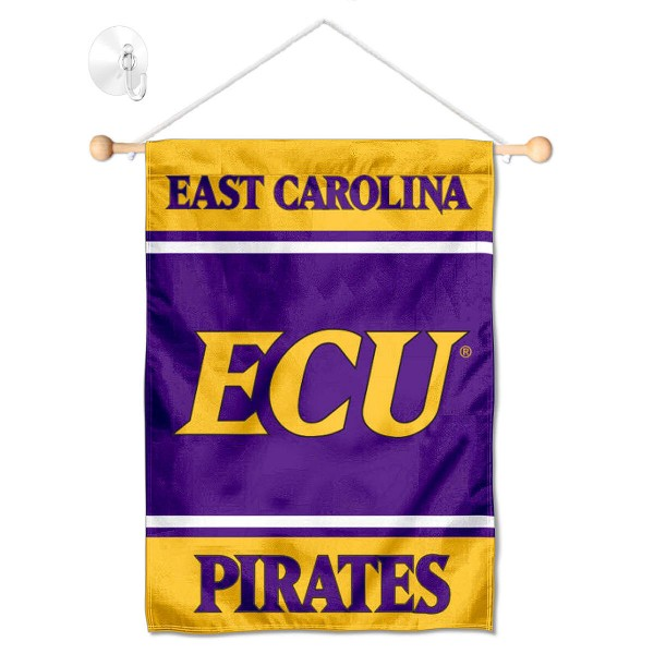 """ECU Pirates Window and Wall Banner kit includes our 13""""x18"""" garden banner which is made of 2 ply poly with liner and has screen printed licensed logos. Also, a 17"""" wide banner pole with suction cup is included so your ECU Pirates Window and Wall Banner is ready to be displayed with no tools needed for setup. Fast Overnight Shipping is offered and the flag is Officially Licensed and Approved by the selected team."""