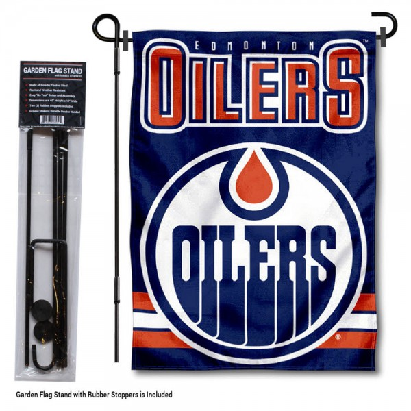 "Edmonton Oilers Garden Flag and Flagpole Stand kit includes our 12.5""x18"" garden banner which is made of 2 ply poly with liner and has screen printed licensed logos. Also, a 40""x17"" inch garden flag stand is included so your Edmonton Oilers Garden Flag and Flagpole Stand is ready to be displayed with no tools needed for setup. Fast Overnight Shipping is offered and the flag is Officially Licensed and Approved by the selected team."