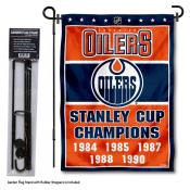 Edmonton Oilers Stanley Cup Champions Garden Banner and Flagpole Holder Stand