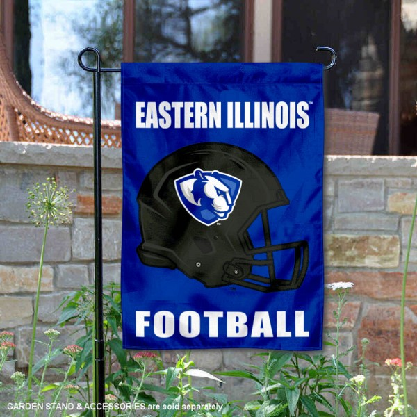EIU Panthers Helmet Yard Garden Flag is 13x18 inches in size, is made of 2-layer polyester with Liner, screen printed university athletic logos and lettering, and is readable and viewable correctly on both sides. Available same day shipping, our EIU Panthers Helmet Yard Garden Flag is officially licensed and approved by the university and the NCAA.
