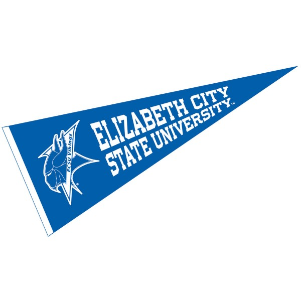 Elizabeth City State University Vikings Pennant measures 12x30 inches, is made of wool, and the School logos are printed with raised lettering. Our Elizabeth City State University Vikings Pennant is Officially Licensed and Approved by the University or Institution.