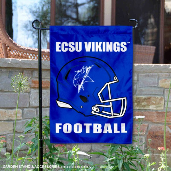 Elizabeth City State Vikings Helmet Yard Garden Flag is 13x18 inches in size, is made of 2-layer polyester with Liner, screen printed university athletic logos and lettering, and is readable and viewable correctly on both sides. Available same day shipping, our Elizabeth City State Vikings Helmet Yard Garden Flag is officially licensed and approved by the university and the NCAA.