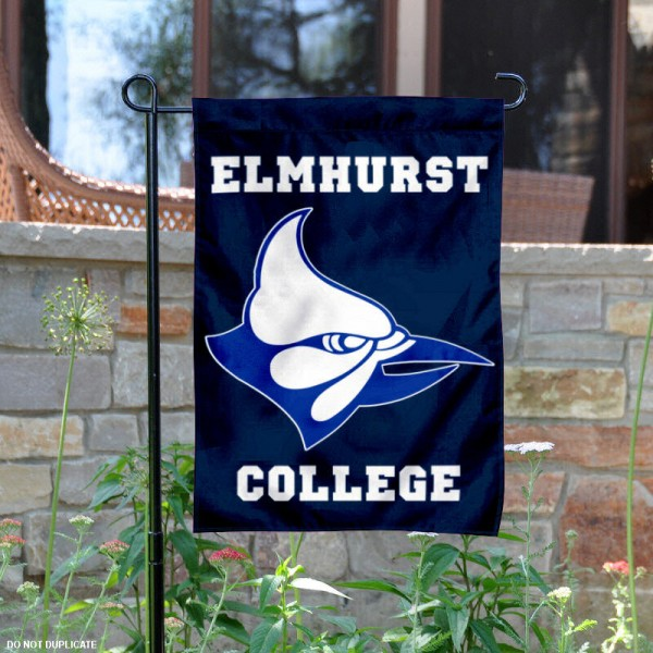 Elmhurst College Garden Flag is 13x18 inches in size, is made of 2-layer polyester, screen printed Elmhurst College athletic logos and lettering. Available with Same Day Express Shipping, Our Elmhurst College Garden Flag is officially licensed and approved by Elmhurst College and the NCAA.