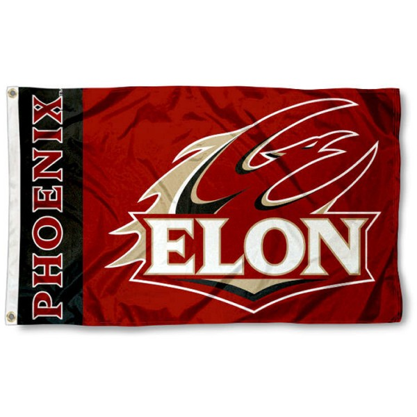Elon Phoenix Flag is made of 100% nylon, offers quad stitched flyends, measures 3x5 feet, has two metal grommets, and is viewable from both side with the opposite side being a reverse image. Our Elon Phoenix Flag is officially licensed by the selected college and NCAA