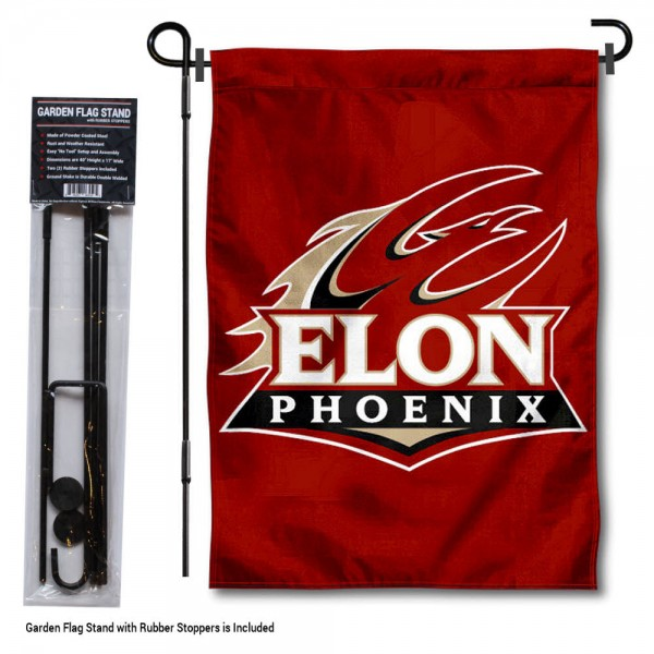"""Elon University Garden Flag and Stand kit includes our 13""""x18"""" garden banner which is made of 2 ply poly with liner and has screen printed licensed logos. Also, a 40""""x17"""" inch garden flag stand is included so your Elon University Garden Flag and Stand is ready to be displayed with no tools needed for setup. Fast Overnight Shipping is offered and the flag is Officially Licensed and Approved by the selected team."""