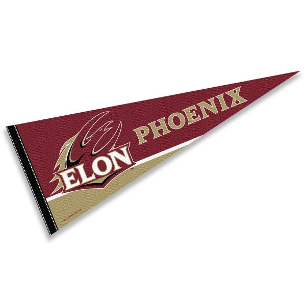 Elon University Pennant consists of our full size sports pennant which measures 12x30 inches, is constructed of felt, is single sided imprinted, and offers a pennant sleeve for insertion of a pennant stick, if desired. This Elon University Pennant Decorations is Officially Licensed by the selected university and the NCAA.