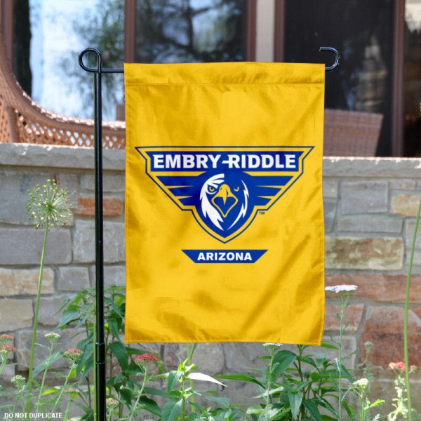 Embry Riddle Aeronautical University Garden Flag is 13x18 inches in size, is made of 2-layer polyester, screen printed university athletic logos and lettering, and is readable and viewable correctly on both sides. Available same day shipping, our Embry Riddle Aeronautical University Garden Flag is officially licensed and approved by the university and the NCAA.