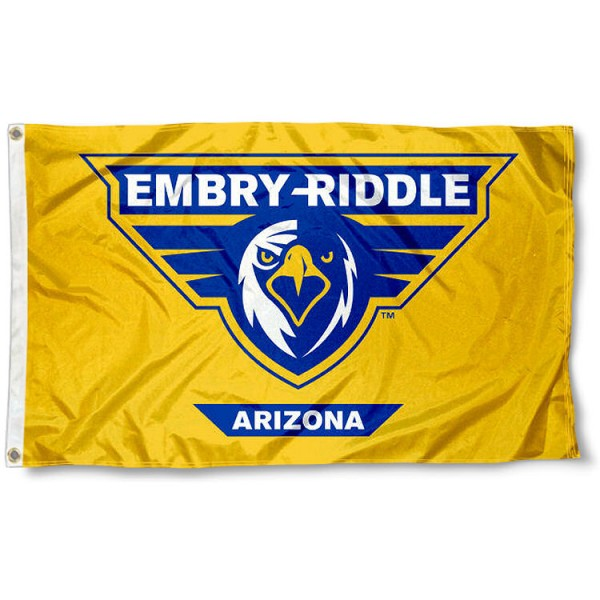 Embry Riddle Eagles Gold Flag measures 3x5 feet, is made of 100% polyester, offers quadruple stitched flyends, has two metal grommets, and offers screen printed NCAA team logos and insignias. Our Embry Riddle Eagles Gold Flag is officially licensed by the selected university and NCAA.