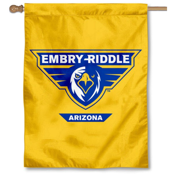 Embry Riddle Eagles Yellow House Flag is a vertical house flag which measures 30x40 inches, is made of 2 ply 100% polyester, offers screen printed NCAA team insignias, and has a top pole sleeve to hang vertically. Our Embry Riddle Eagles Yellow House Flag is officially licensed by the selected university and the NCAA.