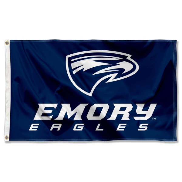 Emory Eagles Logo Flag is made of 100% nylon, offers quad stitched flyends, measures 3x5 feet, has two metal grommets, and is viewable from both side with the opposite side being a reverse image. Our Emory Eagles Logo Flag is officially licensed by the selected college and NCAA