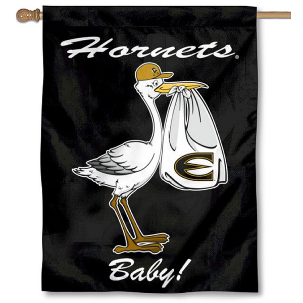 Emporia State Hornets New Baby Flag measures 30x40 inches, is made of poly, has a top hanging sleeve, and offers dye sublimated Emporia State Hornets logos. This Decorative Emporia State Hornets New Baby House Flag is officially licensed by the NCAA.