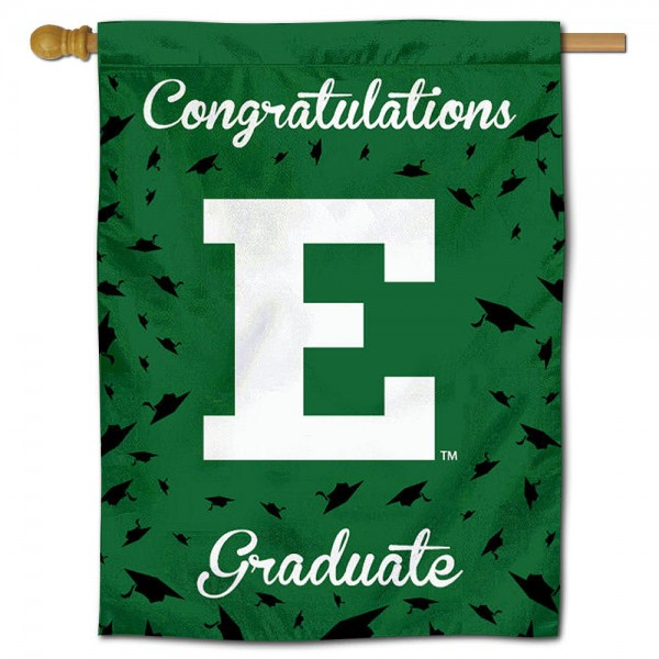 EMU Eagles Congratulations Graduate Flag measures 30x40 inches, is made of poly, has a top hanging sleeve, and offers dye sublimated EMU Eagles logos. This Decorative EMU Eagles Congratulations Graduate House Flag is officially licensed by the NCAA.