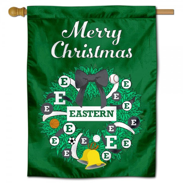 EMU Eagles Happy Holidays Banner Flag measures 30x40 inches, is made of poly, has a top hanging sleeve, and offers dye sublimated EMU Eagles logos. This Decorative EMU Eagles Happy Holidays Banner Flag is officially licensed by the NCAA.