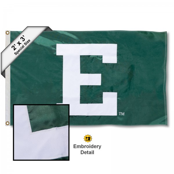 EMU Eagles Small 2'x3' Flag measures 2x3 feet, is made of 100% nylon, offers quadruple stitched flyends, has two brass grommets, and offers embroidered EMU Eagles logos, letters, and insignias. Our 2x3 foot flag is Officially Licensed by the selected university.