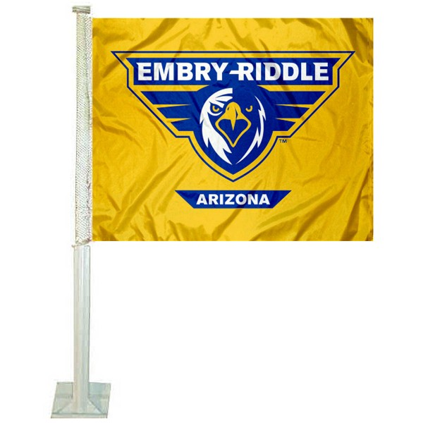 ERAU Eagles Car Window Flag measures 12x15 inches, is constructed of sturdy 2 ply polyester, and has screen printed school logos which are readable and viewable correctly on both sides. ERAU Eagles Car Window Flag is officially licensed by the NCAA and selected university.
