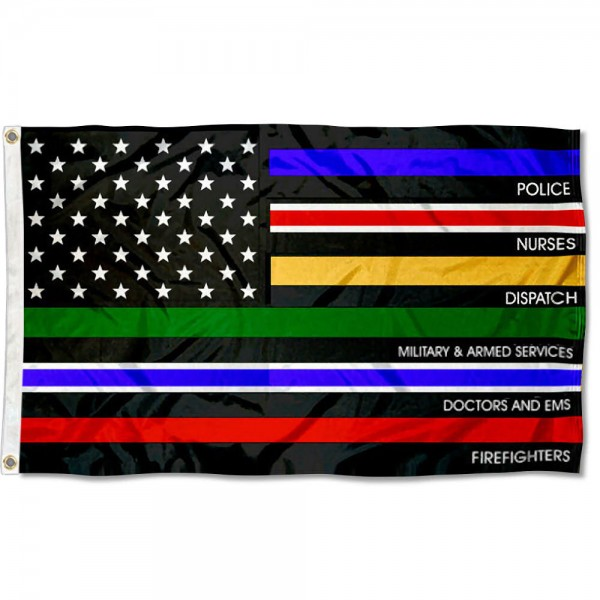 Essential Services Thin Line Flag measures 3'x5', is made of 100% poly, has quadruple stitched sewing, two metal grommets, and has double sided Essential Services Thin Line logos.