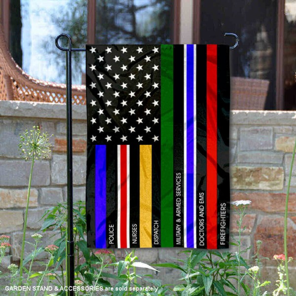 Essential Services Thin Line Garden Flag is 13x18 inches in size, is made of 2-layer polyester, screen printed logos and lettering, and is viewable on both sides. Available same day shipping, our Essential Services Thin Line Garden Flag is a great addition to your decorative garden flag selections.