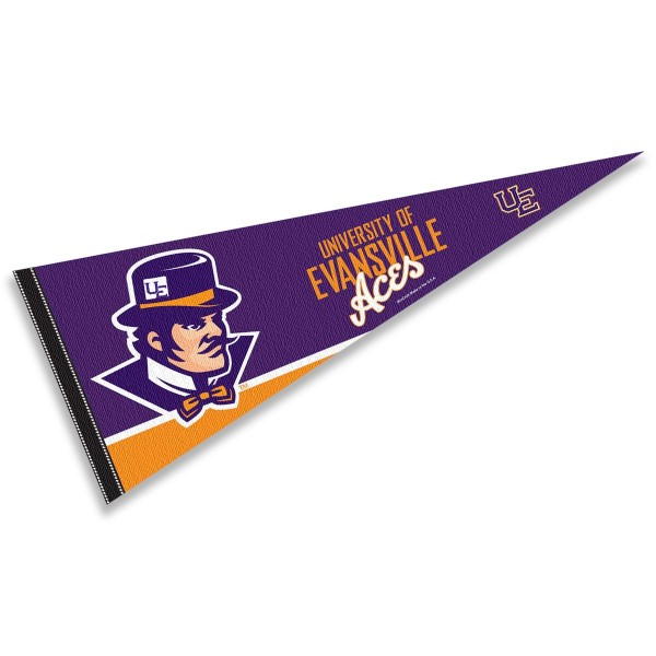 Evansville UE Purple Aces Pennant Decorations consists of our full size pennant which measures 12x30 inches, is constructed of felt, is single sided imprinted, and offers a pennant sleeve for insertion of a pennant stick, if desired. This Evansville UE Purple Aces Pennant Decorations is officially licensed by the selected university and the NCAA.