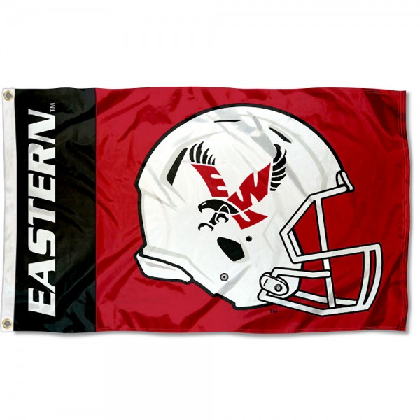 EWU Eagles Football Helmet Flag measures 3x5 feet, is made of 100% polyester, offers quadruple stitched flyends, has two metal grommets, and offers screen printed NCAA team logos and insignias. Our EWU Eagles Football Helmet Flag is officially licensed by the selected university and NCAA.